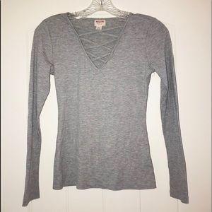 Tops - Missimo grey long sleeve shirt- lace up